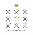 black and golden retro hand drawn tribal icons set vector image
