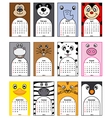 Animals calendar 2014 vector image vector image