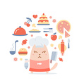 Character chef in a chefs hat colorful flat vector image