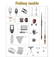 Fishing tackle flat icon collection vector image