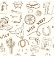 Hand drawn wild west seamless pattern vector image