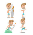 surfer cartoon guy character set vector image