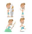 surfer cartoon guy character set vector image