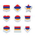 argentina flags icons and button set nine styles vector image