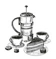 Teapot cup and chocolate cake vector image