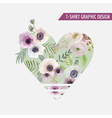 Floral Heart Graphic Design - for t-shirt fashion vector image