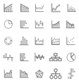 Graph line icons on white background vector image