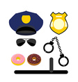 Police set icon Police uniforms and handcuffs vector image