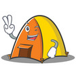 two finger tent character cartoon style vector image