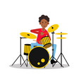young black mucisian man playing on drum kit vector image