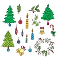 Christmas decoration set with graphic elements vector image vector image