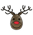 colorful crayon silhouette of face of reindeer vector image