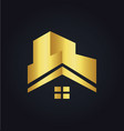 house roof construction building gold logo vector image vector image