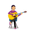 young woman playing an acoustic guitar and singing vector image