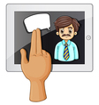 A hand touching a gadget with a bearded vector image vector image