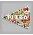 Pizza hand drawn title design vector image