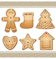 set of gingerbread vector image