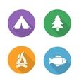 Camping flat design icons set vector image