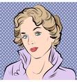 Beautiful girl portrait in retro style vector image