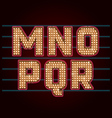 Retro Light Bulb Font from M to R vector image