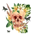 Summer watercolor skull tropical leaves vector image