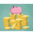 Pink piggy bank and stacks gold coins vector image