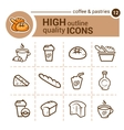 coffee and pastries icons vector image