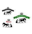 Equestrian sport icons for harness racing design vector image