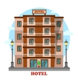 Hotel or motelskyscraper hostel building exterior vector image