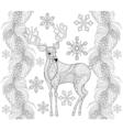 Zentangle reindeer with snowflakes fir pine branch vector image