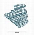 Doodle sketch of Algeria map vector image