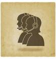 three silhouette girls operators call center vector image