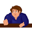 Cartoon sad man torso in blue top vector image vector image