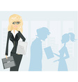 Beautiful business woman holding a tablet computer vector image