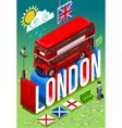London Double Decker Postcard vector image