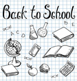 Back to school School subjects on the graph paper vector image