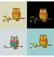 Set of with fashionable owls vector image
