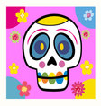 skull with flowers cartoon vector image