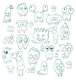 Contour funny monsters for Halloween holiday or vector image