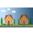 Day and night houses with trees vector image