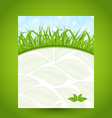 Ecology card with green grass and eco leaves vector image
