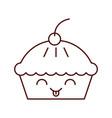 funny cartoon cake birthday kawaii vector image