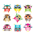 Set of nine cartoon owls with various emotions vector image