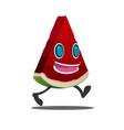 watermelon slice cartoon character isolate vector image