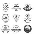 winter sports monochrome emblems vector image