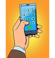 Hand smartphone phone number vector image