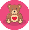 Cute brown teddy bear with red heart Flat design vector image