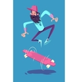 Funny hipster on longboard character Isolated vector image