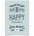 Vintage christmas wishes card vector image