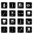 Dental care set icons grunge style vector image